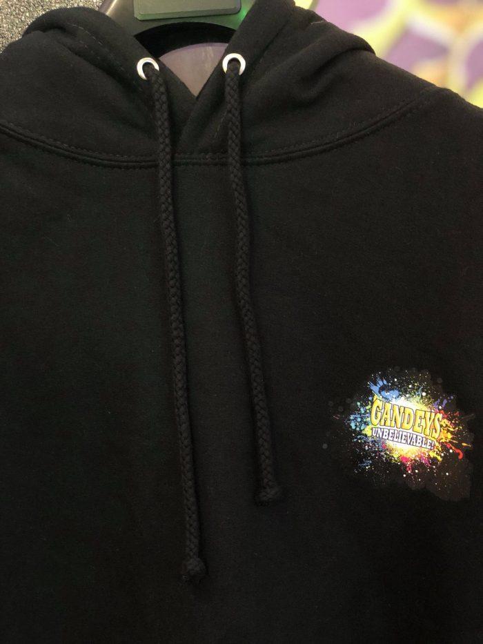 black hoodie with gandeys logo